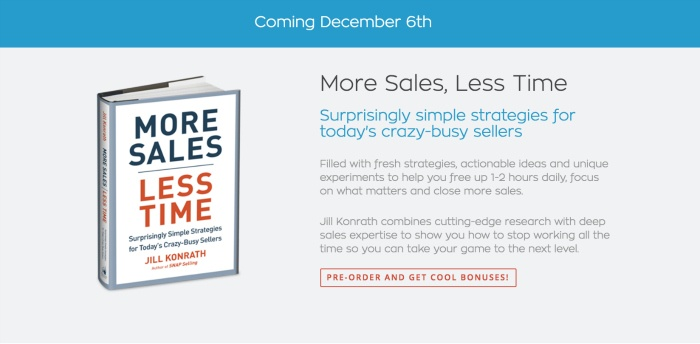 Photo of Jill Konrath's new book: More Sales, Less Time